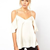 ASOS Cami With Cold Shoulders And Ruffle Sleeves at asos.com