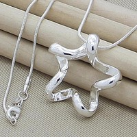 Hot Selling 925 Sterling Silver Jewelry Brand Necklace 18 Inches Fashion Starfish Pendant Necklace Women Free Shipping