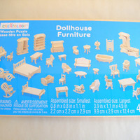 Dollhouse Furniture Wood Puzzle Die Cut Unfinished Kit Miniature You Assemble