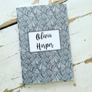 Black & White Tropical Personalized Planner