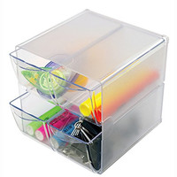 Deflecto Stackable Cube Organizer, 4 Drawers, Clear (350301)