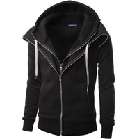 Mens Casual Layered Napping Zip up Hoddies (161D)
