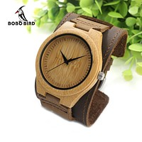 Mens Bamboo Wood Watches Bracelets Detachable Genuine Leather Bands Straps with Gift Box
