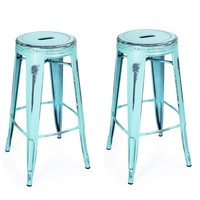 Metal Counter Bar Stools Antique-Style Sky Blue 30-inch (Set of 2)