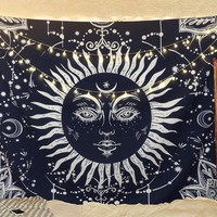 Navy Blue Sunshine Tapestry  51x59in