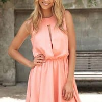 Apricot Sleeveless Dress with Cutout Front & Elastic Waist