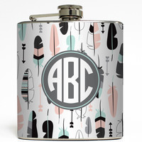 Feather Monogram - Personalized Flask