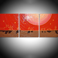 ARTFINDER: city of gold impasto eldorado triptych abstract original abstract contemporary original acrylic varnished painting art canvas - 60 x 28 inches by Stuart Wright - 3 piece canvas art