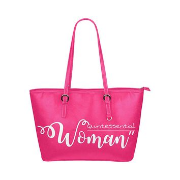 Tote Bags, Quintessential Woman Graphic Style Pink Leather Bag