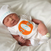 Monogram Baby Boy Clothes Personalized Baby Boy Take Home Outfit Personalized Beanie Hat Gift Set