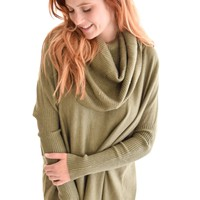 Warm Me Up Cowl Sweater In Olive