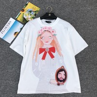 """Gucci Unskilled Worker"" Women Casual Fashion Cartoon Portrait Girl Print Loose Short Sleeve Cotton T-shirt Tops"