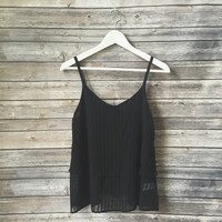 Cross Back Pleated Tank (Black)