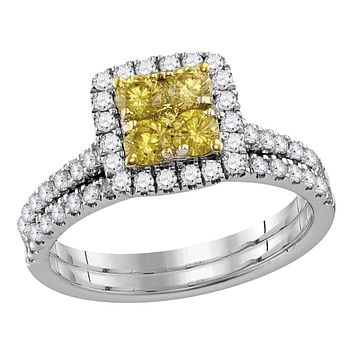 14kt White Gold Womens Canary Yellow Diamond Square Cluster Bridal Wedding Ring Set 1-1/4 Cttw