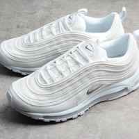 nike air max97 all white women men running sport casual shoes sneakers