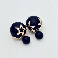 New Fashion jewelry double side matte pearl stud star flower design FREE SHIPPING