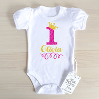 Personalized First Birthday Girl Baby Romper With Puff Sleeves. Birthday Girl Outfit. Baby Girl Clothes. Hot Pink And Gold. Add Your Name.