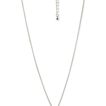 FOREVER 21 Dainty Bow Pendant Necklace Silver/Clear One