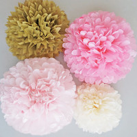 Pink & Gold Tissue Paper Pom Poms 4 Piece Set - Weddings - Bridal Shower - Decorations - Birthday - Nursery - Party Decorations