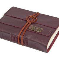 Burgundy Leather Journal with Bookmark