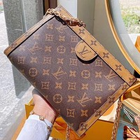 LV New fashion monogram leather chain shoulder bag crossbody bag