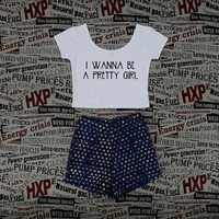 I Wanna Be A Pretty Girl American Horror Story Print Womens Gray Crop Top Ladies Short Sleeve T Shirt