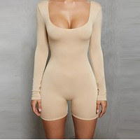 Autumn and winter new women's leaky low collar long sleeve sexy one-piece shorts