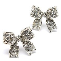 "Adorable 3/4"" Ribbon Bow Stud Earrings with Sparkling Crystals Silver Tone for Girls Teens Women"