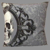 Two Halves Make a Whole Decorative Skull  20 x 20 Throw Pillow Cover