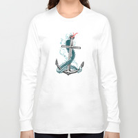 Anchor and Tentacle (Riso edition) Long Sleeve T-shirt by Pakowacz