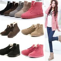 Women's Fashion Boots Comfort Shoes Flat Lace UP Ankle Winter Warm Snow Boot [8834072012]
