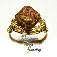 DWJ0275 Lovely Czech Rose Luster Picasso Gold Wire Wrap Ring All Sizes