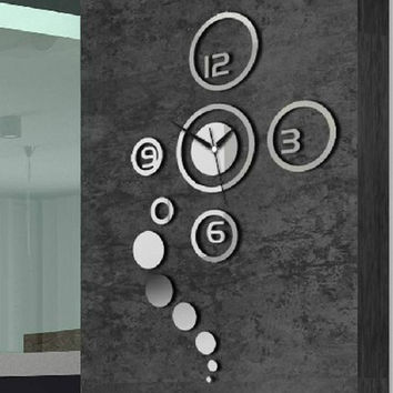 New Arrival Diy Personalized Clock 3d Home Modern Decoration Mirror Living Room Wall Clock Silver HG-WS-1699 = 1706051908