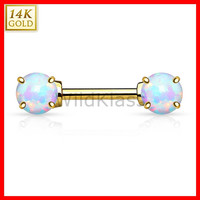 14k Gold Nipple Ring 14g Barbell 14k Solid Gold Yellow Gold with Opal Stones Nipple Piercing Cartilage Earring Eyebrow Jewelry Nipple Bar
