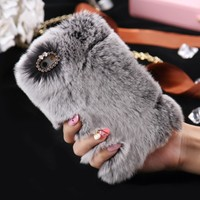KISSCASE Luxury Case For iPhone 7 8 Plus Soft Fur Cover For iPhone 6 6S Plus 5S SE X XS Max Cases Cute Warm Winter Coque Capa