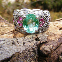 Apatite & Pink Sapphire Cocktail Ring in Sterling Silver