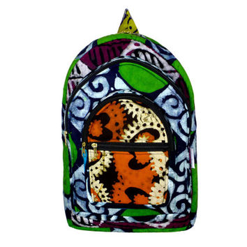 Colorful Patchwork Batik Festival BACKPACK - Supporting the Deaf in Ghana