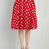 Rockabilly Long A-line Bugle Boogie Skirt in Red Dots
