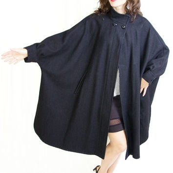 Vintage Black Bat Girl Coat