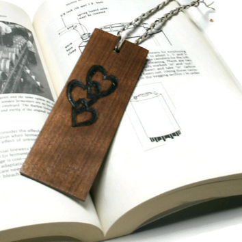 Upcycled Wood Bookmark - Black Walnut Bookmark - Hardwood Bookmark Burnt with Hearts - Ready To Ship