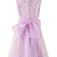 ROMWE Lace Mesh Bowknot Lined Elegant Purple Dress
