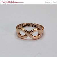 ON SALE Rose Gold Infinity Ring I Love You