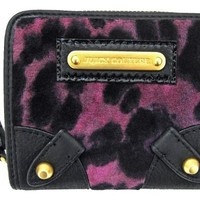 Juicy Couture Wild Things SFP Zip Around Velour French Wallet, Purple Leopard
