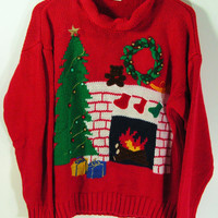 ugly christmas sweater womens medium red fireplace tree mens small