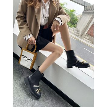 GUCCI 2021 Trending Women's men Leather Side Zip Lace-up Ankle Boots Shoes High Boots10170gh