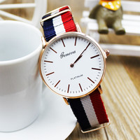 Good Price Awesome Designer's Great Deal Trendy New Arrival Gift Ladies Korean Simple Design Stylish Canvas Nylon Watch [10760227791]