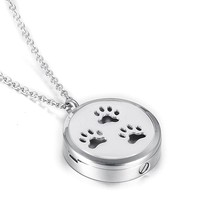 Silver Tone Perfume Locket for Pet Dog /Cat Ashes Memorial Keepsake Pendant Necklace with Pads