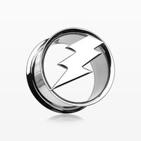 zzz-A Pair of Electro Thunder Hollow Steel Double Flared Ear Gauge Plug