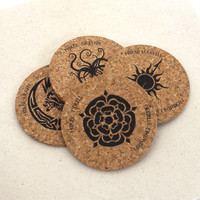 Game of Thrones House Sigils (2) Cork Coaster Set of 4