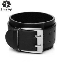 Jiayiqi 2017 Punk Wide Cuff Bracelet Genuine Leather Bracelets & Bangles for Men Jewelry Brown and Black Color Wristband Jewelry